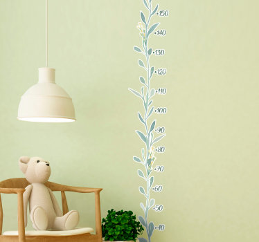 Eucalyptus leaves patterned meter height chart decal for children bedroom space. Easy to apply and available in different sizes.