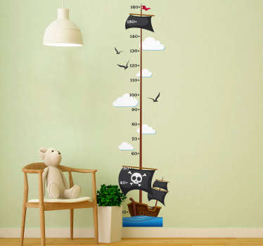 Pirate Ship Height Chart wall stickers for kids