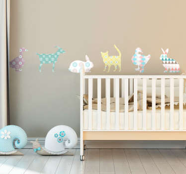 Farm animal border sticker to decorate the bedroom space of children. It has the features of cat, rabbit,duct and more in geometric pattern design.