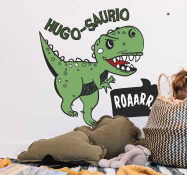 Vinilo pared dinosaurio con nombre saurus