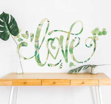 Vinilo frase Love con textura eucalipto