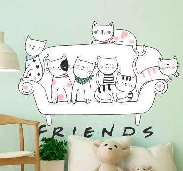 Decorative wall art decal with the design of set of cats pets sitting on a sofa. It depict an american tv series '' friend''.