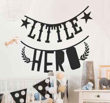 Vinilo bebé guirnalda texto little hero