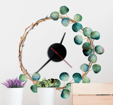 Decorative eucalyptus clock wall clock sticker for home and office use. Available in any desired size and easy to apply.