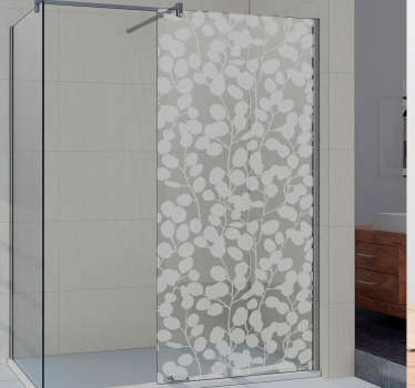 Decorative plant silhouette shower screen decal designed in translucent form . Available in different colours and in any required size.