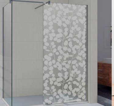 Dekorativer Pflanzen Silhouette Duschwand Aufkleber in durchscheinender Form gestaltet. Erhältlich in verschiedenen Farben und in jeder gewünschten Größe.