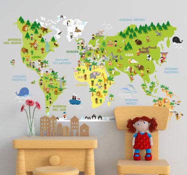 Vinilo adhesivo infantil formado por el mapa del mundo acompañado de varios elementos cómo animales o plantas. Vinilos Personalizados a medida.