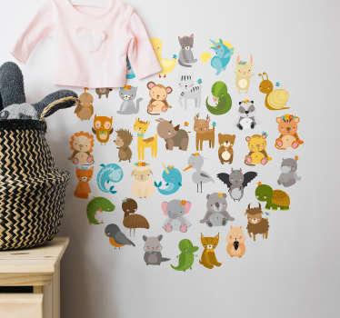 Zoo Animals Circular Wall Sticker