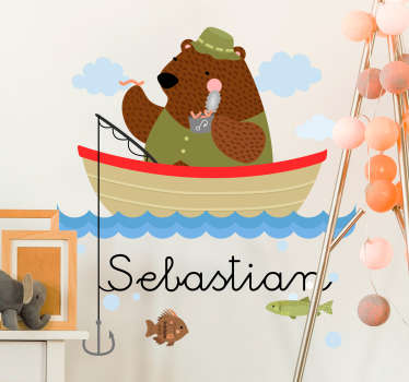 Give your children's room a more personal touch with this extremely cute personalised fishing bear wall sticker. Free delivery available!
