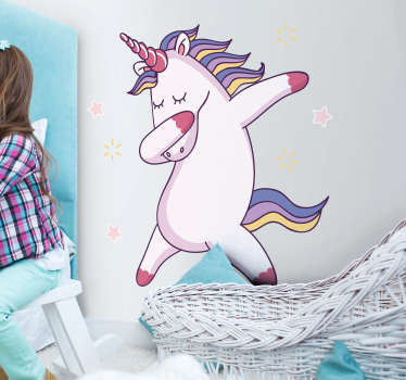Dancing funny unicorn illustrative decal.  A decorative bedroom design for children. Available in any desired size and easy to apply.