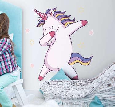Vinilo infantil Unicornio divertido bailando