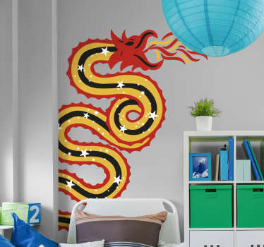 Stickers Mural Dessin Dragon Oriental