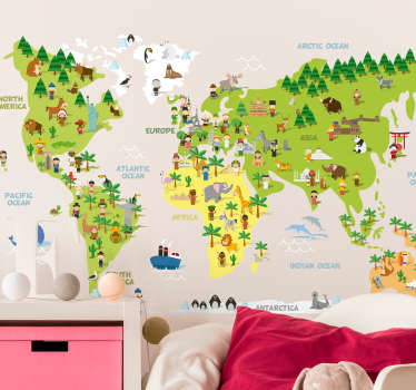 Decorate any part of your home with this fantastic home world map sticker, depicting humorous stereotypes for each country! Sign up for 10% off.