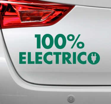 """Original pegatina adhesiva ideal para los nuevos vehículo formada por el texto """"100 % ELECTRICO"""". Fácil aplicación y sin burbujas."""