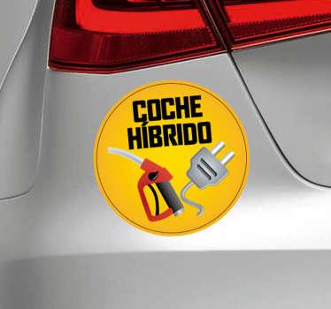 """Vinilo para coche o auto híbrido con iconos de surtidor y corriente eléctrica y frase """"coche híbrido"""" para pegarlo en el tuyo ¡Envío a domicilio!"""