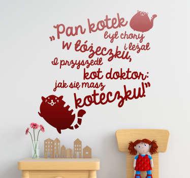 Naklejka na ścianę sławne cytaty Napis Kotek i doktor