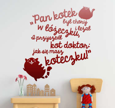 Naklejka na ścianę Napis Kotek i doktor