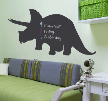 Blackboard Stickers - Silhouette of a Triceratops from our collection of dinosaur wall decals. Chalkboard wall sticker ideal for decorating any room, and practical for writing notes. Personalise your child's bedroom with this awesome design and scribble away to your heart's content!