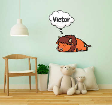 Sticker Chambre Enfant Bison avec Prénom