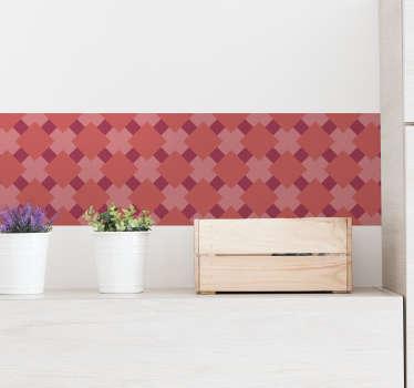 Dê cor à sua cozinha de forma prática e económica com este fantástico autocolante decorativo de um friso de azulejos vermelho coral.