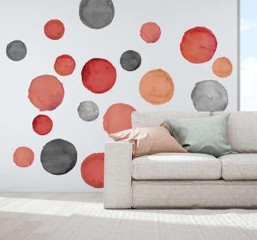 Vinilo pared círculos grises y coral pantone
