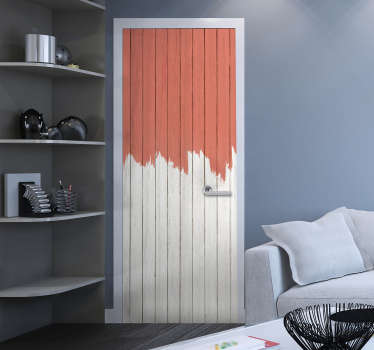 Decorative color pantone living coral design sticker for door surface. Easy to apply and available in any required size.