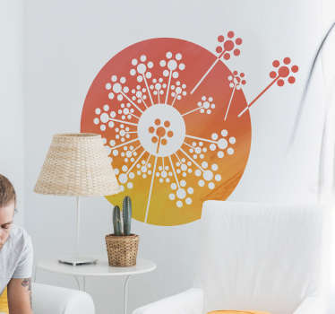 Decorative home vinyl decal with the design of a dandelion degraded living coral. Easy to apply and available in different sizes.