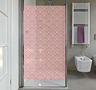 Decorative shower screen sticker with the design of living coral pantone. Available in any required size. Easy to apply and adhesive.