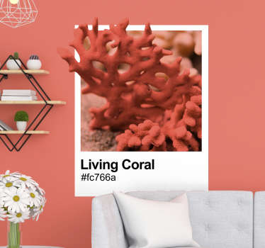An original Pantone Living Coral nautical wall sticker to decorate the home or office space. Available in any required size and easy to apply.