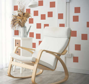 Vinilo pared set de cuadrados living coral