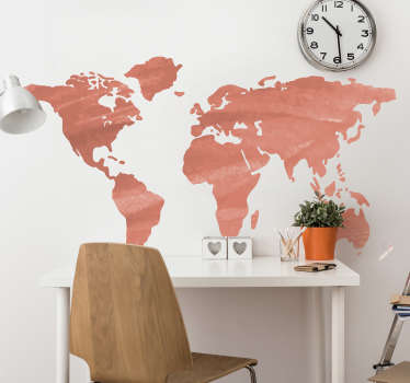 Decorate your wall with this fantastic world map wall sticker depicting the stunning colour of living coral! Discounts available.