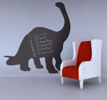 Chalkboard Stickers - Silhouette of a Diplodocus. Use the dinosaur wall sticker in your kids bedroom so they can have fun writing with chalk!