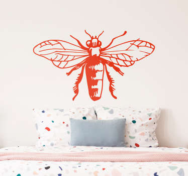 Decorative bee insect wall sticker for home decoration. Available in any required sizes. It comes in different colour options and easy to apply.