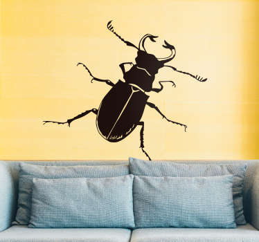 Decorative insect wall sticker with the design of a cockroach. Available in different colours and size options. Easy to apply and adhesive.
