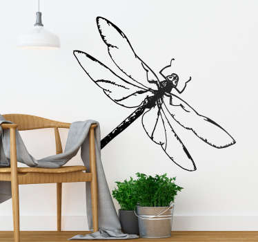 Dragon fly drawing wall sticker to decorate any space of choice . Available in any required size and comes in different colour options.