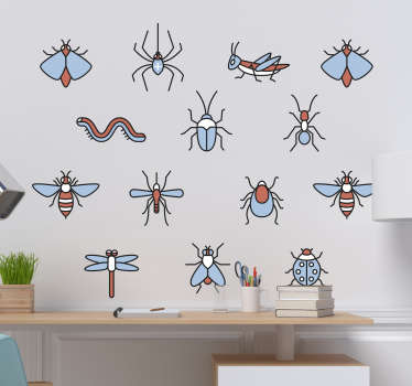Pay homage to the wonder of insects with this fantastic sheet of animal wall stickers, depicting a group of different insects!