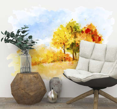 Show your love for Autumn with this fantastic wall art sticker, depicting a stunning Autumn scene in the style of a painting!