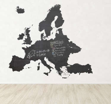 Blackboard Stickers - Silhouette wall sticker of the continent of Europe. Chalkboard wall sticker design ideal for decorating any room, also practical for writing notes. Decorate your walls with this European decal allowing you to write and draw easily at any time.