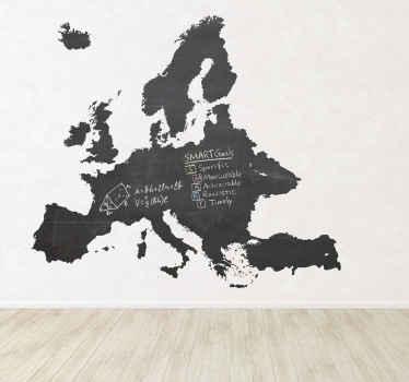 Sticker kaart Europa krijtbord