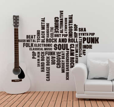 Pay tribute to the general wonder of music with this fantastic typography themed musical wall decal! Available in 50 colours.