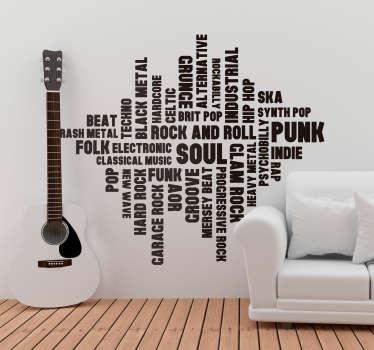 La musique dans la peau ? Vous allez tomber amoureux de ce sticker mural musique qui réunit différents styles de musique avec la même police de texte