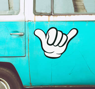 Decorate your vehicle with this fantastic vinyl decal, depicting a hand making a fantastically fun gesture! Available in 50 colours.
