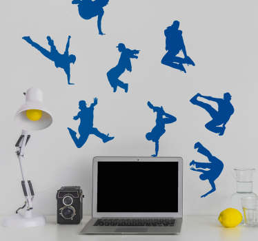 Showcase your love for dance with this fantastic collection of urban dance themed wall silhouette stickers! Discounts available.