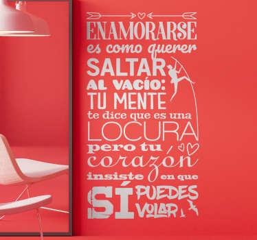 Vinilo pared frase motivadora de amor que demuestra la pelea entre la razón y el corazón con una cita original. Elige medidas y color ¡Envío gratis!