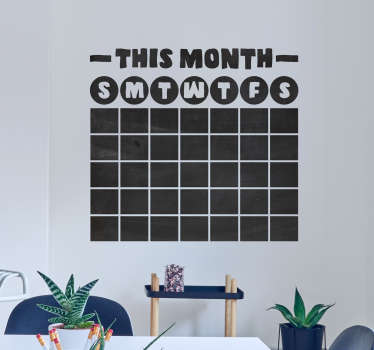 If you want a new, visually stunning and endlessly recyclable form of calendar, then this chalkboard calendar sticker is ideal for you!