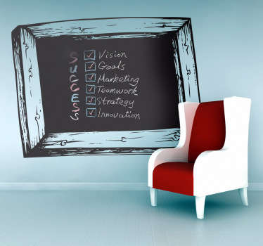 Blackboard Wall Stickers - Wooden frame chalkboard wall sticker design ideal for decorating any room, also practical for writing notes and sketching ideas. Suitable for all ages. Available in various sizes, perfect for decorating a child's bedroom.