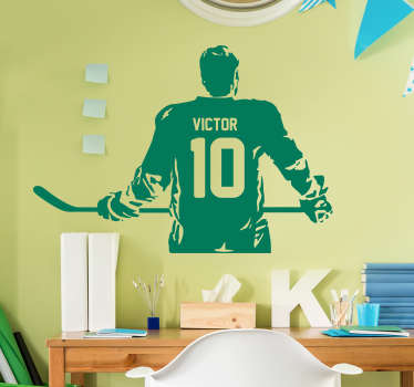 Decorate your home with this wonderful customisable wall sticker, devoted to the incredible world of ice hockey! Available in 50 colors.