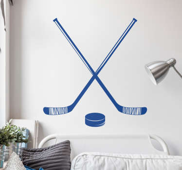 Hockey Sticks and Puck Home Wall Sticker