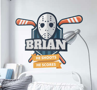 Show your love for ice hockey with this fantastic wall art sticker that can be customised with any name of your choice! Available in 50 colors.