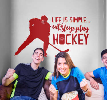 Hockey lovers! Decorate your home with this fantastic monocolour sports art sticker, showing your love for hockey! Easy to apply.